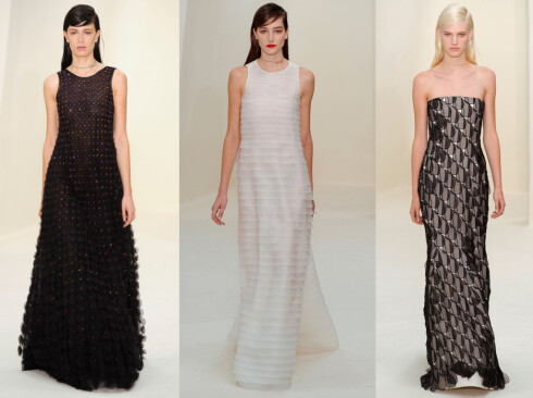 <strong>DIOR:</strong> Motehuset gikk for enkle kjoler med feminine detaljer. Foto: All Over Press