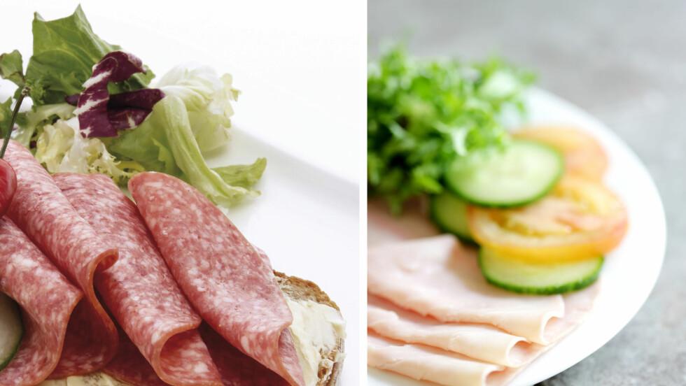 FÆRRE KALORIER: Du vet sikkert at kokt skinke inneholder mye mindre mettet fett og kalorier enn salami, men er du klar over hvor mye?  Foto: All Over Press