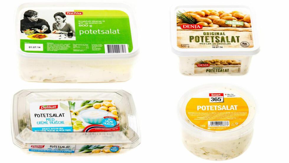 POTETSALAT: Dersom du er glad i potetsalat bør du huske å sjekke næringsinnholdet når du handler. Dette varierer veldig mellom de ulike variantene.  Foto: Produsentene