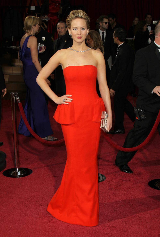 Jennifer Lawrence i kjole fra Dior. Foto: All Over Press