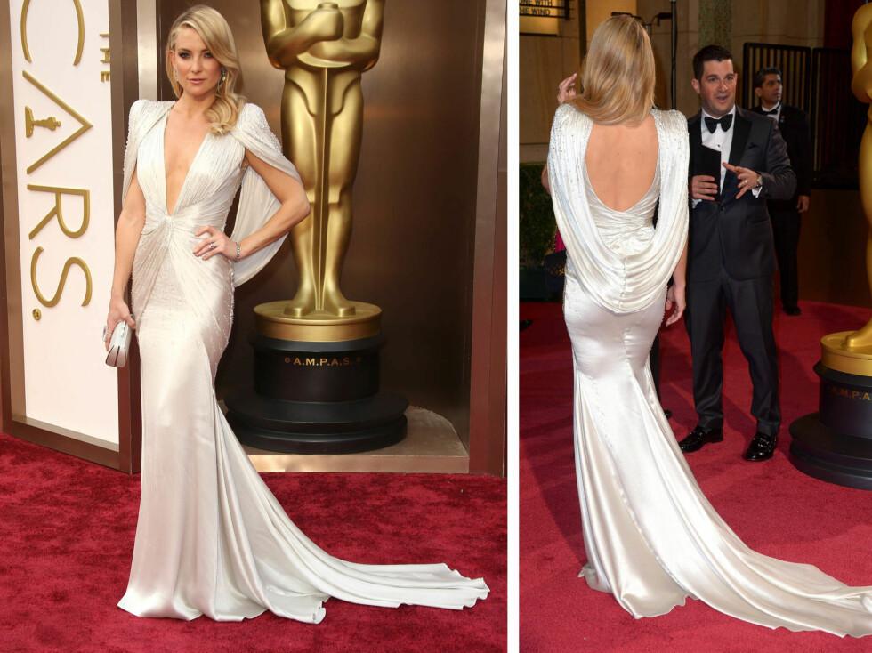 KATE HUDSON: Sølvfarget kjole fra Atelier Versace. Foto: All Over Press
