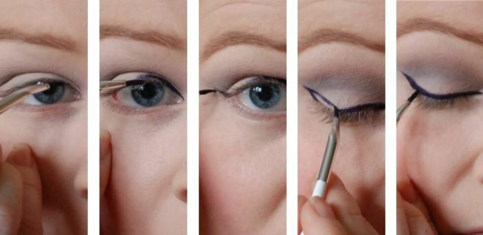 <strong>SLIK GJØR DU DET:</strong> Følg denne enkle framgangsmåten for å få eyeliner perfekt hver gang. Foto: Aina Kristiansen
