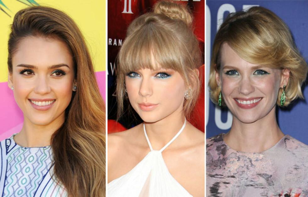 FARGET LINER: Jessica Alba, Taylor Swift og January Jones har alle hoppet på trenden med farget eyeliner. Se hvor lekkert det er! Foto: All Over Press