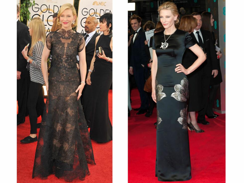 CATE BLANCHETT: Kroppsnære kjoler med høy hals er noe av det siste Blanchett har båret på rød løper. Foto: All Over Press