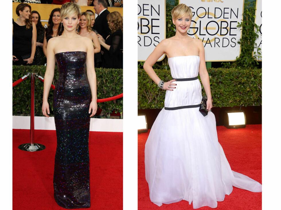 JENNIFER LAWRENCE: Vi holder en knapp på at Lawrence velger en stroppeløs kjole fra Dior. Foto: All Over Press