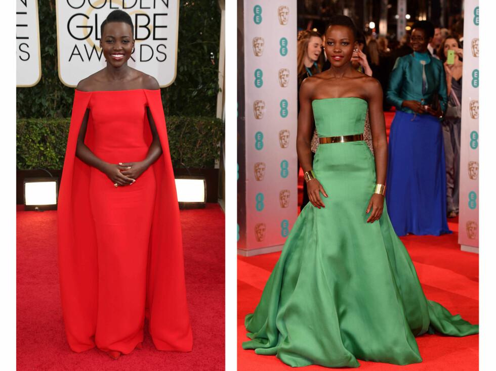 LUPITA NYONG'O: Fargerike kjoler med rene snitt har blitt kjennetegnet til nykommeren. Foto: All Over Press