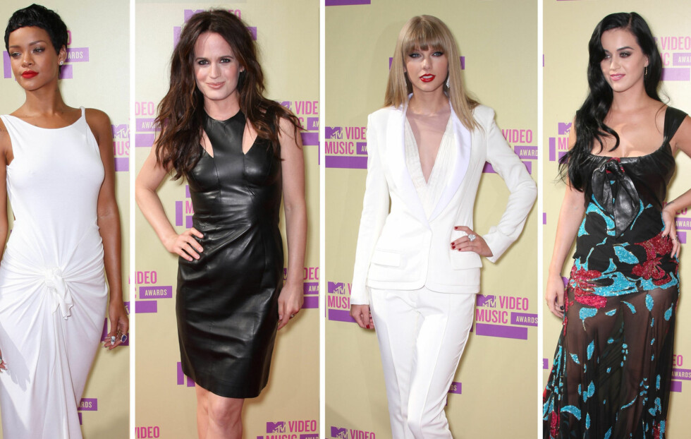 HØSTENS TRENDER UNDER Video Music Awards: Stjernene viste tydelig at hvitt og plagg med skinndetaljer er i skuddet denne høsten. Fra venstre - Rihanna, Elizabeth Reaser, Taylor Swift og Katy Perry.  Foto: All Over Press