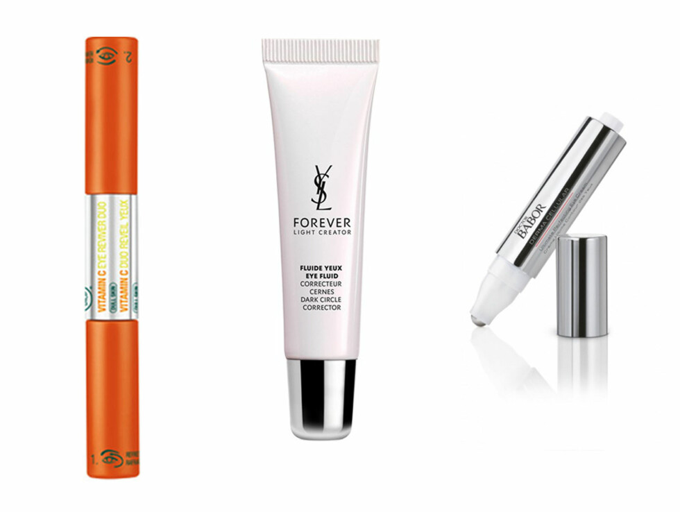 <strong>ØYEKREMER:</strong> 1. Vitamin C Eye Reviver Duo fra The Body Shop, 180 kr,  Forever Light Creator Eye Fluid Dark Circle Corrector fra YSL, 680 kr, Ultimate Perfecting Eye Cream fra Dr Babor, 1000 kr. Foto: Produsentene