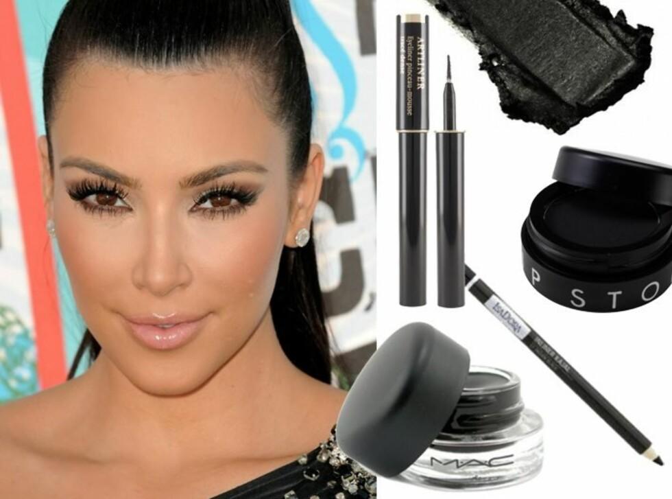 <strong>EYELINERPERFEKSJON:</strong> Kim Kardashian får god hjelp av sine makeupartister, men med riktig produkt kan du også få perfekt eyeliner. Se produktinfo og priser i bildekarusellene lenger ned i saken. Foto: All Over Press og produsentene