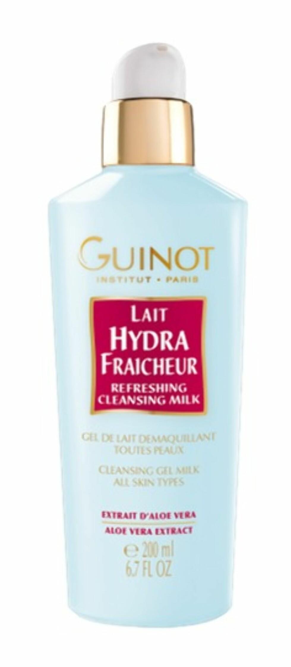 Lait Hydra Fraicheur fra Guinot er en geléaktig rensemelk for alle hudtyper. Renser bort sminke og fjerner urenheter fra huden, samtidig som den fukter og mykgjør huden, kr 325. Foto: Produsenten