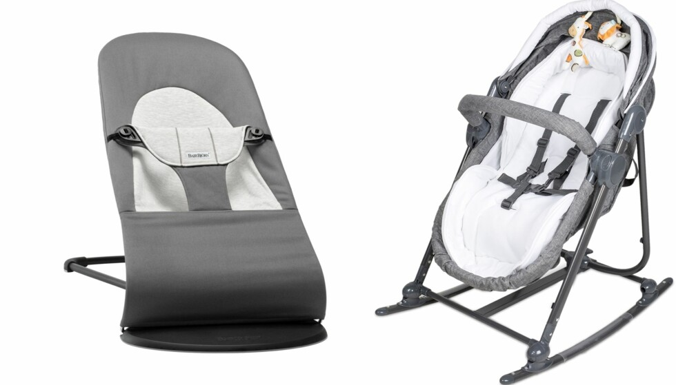 VIPPESTOLER: Vippestolen fra Baby Björn gir god gynging og er lett å flytte på. Vippestolen fra Beemoo fungerer også som vugge og bærestol. Foto: Produsentene