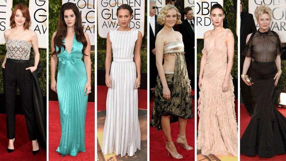 GOLDEN GLOBES: Vi har kåret tre av disse som best kledd og tre som verst kledd - gjetter du riktig? Foto: Scanpix