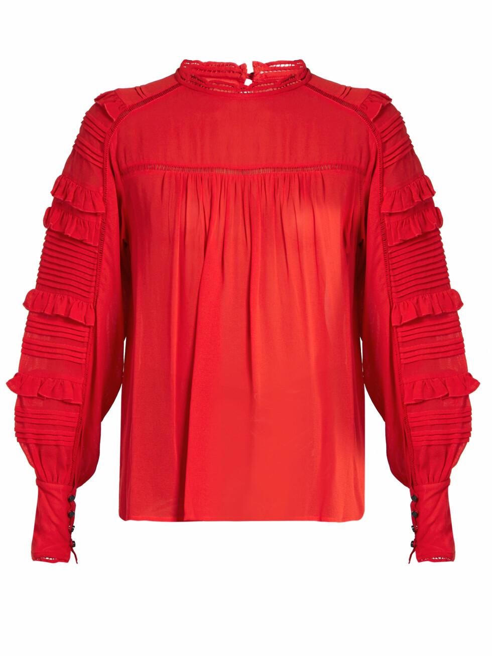 Overdel fra Isabel Marant via Matchesfashion.com | kr 3110 | http://www.matchesfashion.com/intl/products/Isabel-Marant-Qimper-silk-blend-and-lace-blouse-1069702
