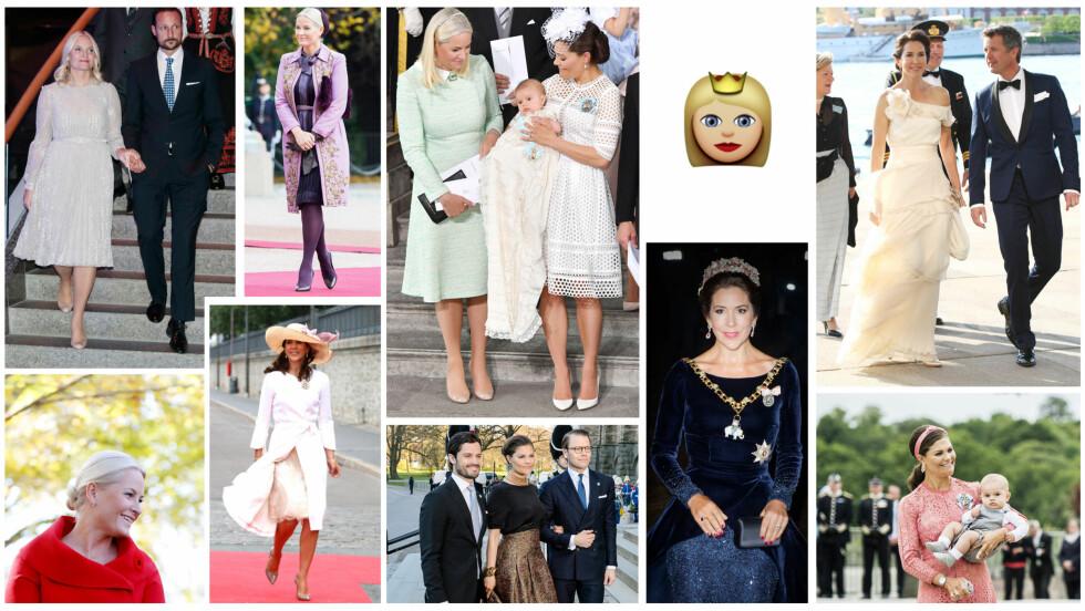 KRONPRINSESSER: De tre kronprinsessene Mette-Marit, Victoria og Mary én dag skal bli dronning i hvert sitt land! Foto: NTB Scanpix og skjermdump fra emojipedia.org