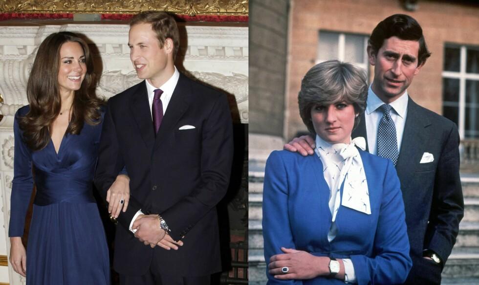 INSPIRASJON: Anja Johansen falt pladask for prinsesse Dianas forlovelsesring som hun fikk da hun ble fridd til i 1981. Kate fikk ringen av Dianas og Charles' sønn prins William da han fridde høsten 2010. Foto:  Foto: NTB Scanpix