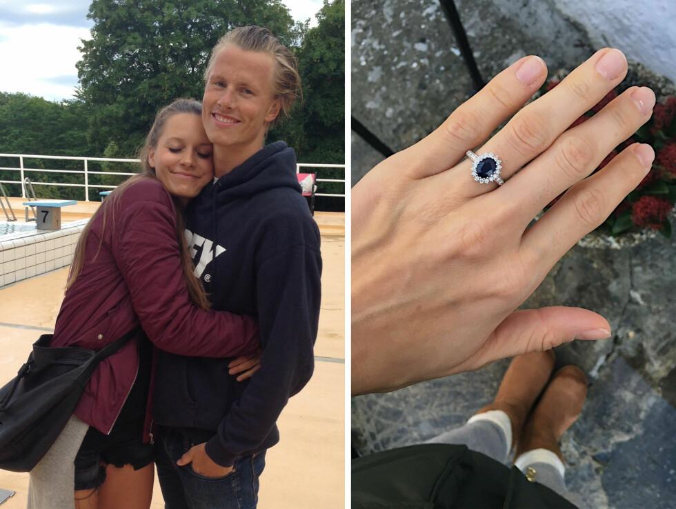 FORLOVELSESRINGEN: Ringen Anja fikk av Lavrans er av mørkeblå safir, hvitt gull og har 26 diamanter - og en HELT spesiell historie. Den er nemlig inspirert av prinsesse Dianas forlovelsesring som hun fikk før hun giftet seg med prins Charles i 1981. Foto:  Foto: Privat