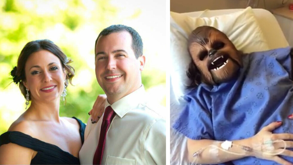STAR WARS-MASKE: Det var Katie Stricker Curtis' bror Danny Stricker (bildet) som ga henne den populære Chewbacca-masken til jul i håp om at hun skulle le fødselen i gang.  Foto: Privat