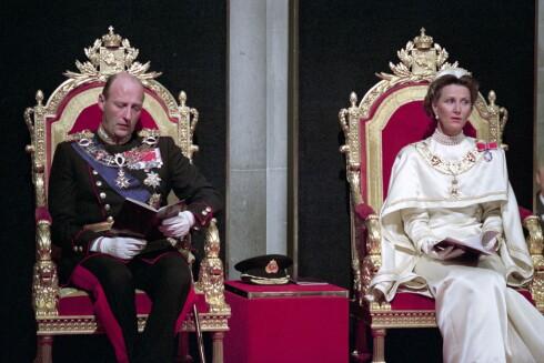 SIGNET: 23. juni 1991 ble Harald og Sonja signet til Norges konge og dronning.Trondheim. 19910623.   Foto: NTB scanpix