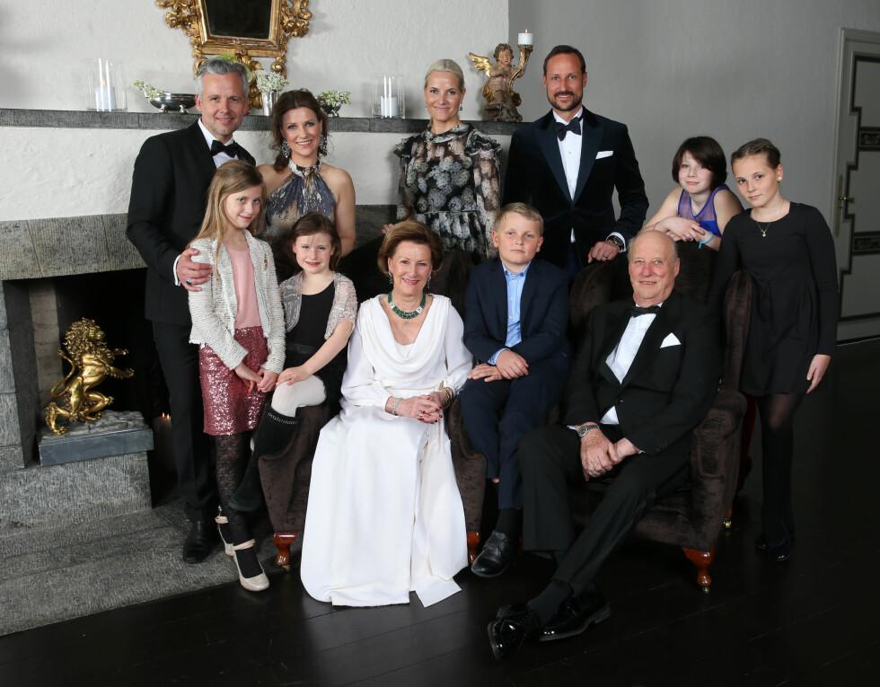 25 ÅR PÅ TRONEN: Hele familien var samlet på jubileet i januar 2016.  Foto: NTB scanpix