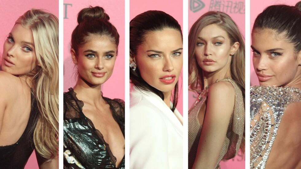 CAT EYE: Elsa Hosk, Taylor Hill, Adriana Lima, Gigi Hadid og Sara Sampaio. Foto: Scanpix