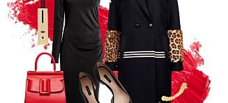 Helgens festantrekk består av den lille sorte, en statementkåpe og et hint av rødt