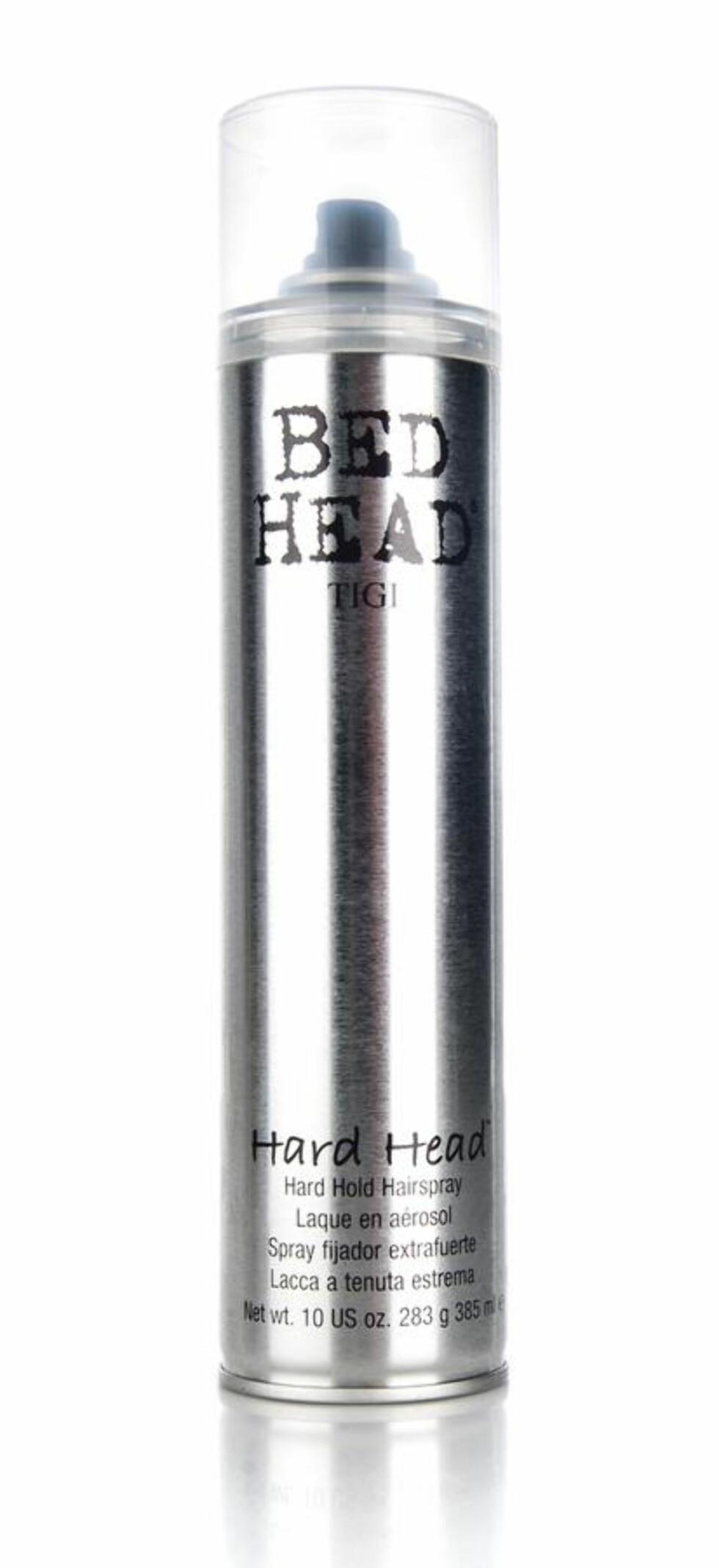 Hårspray fra Tigi Bedhead via BliVakker.no | kr 80 |  https://www.blivakker.no/product/1778/tigi-bedhead-hard-head-hard-hold-hairspray-385ml-