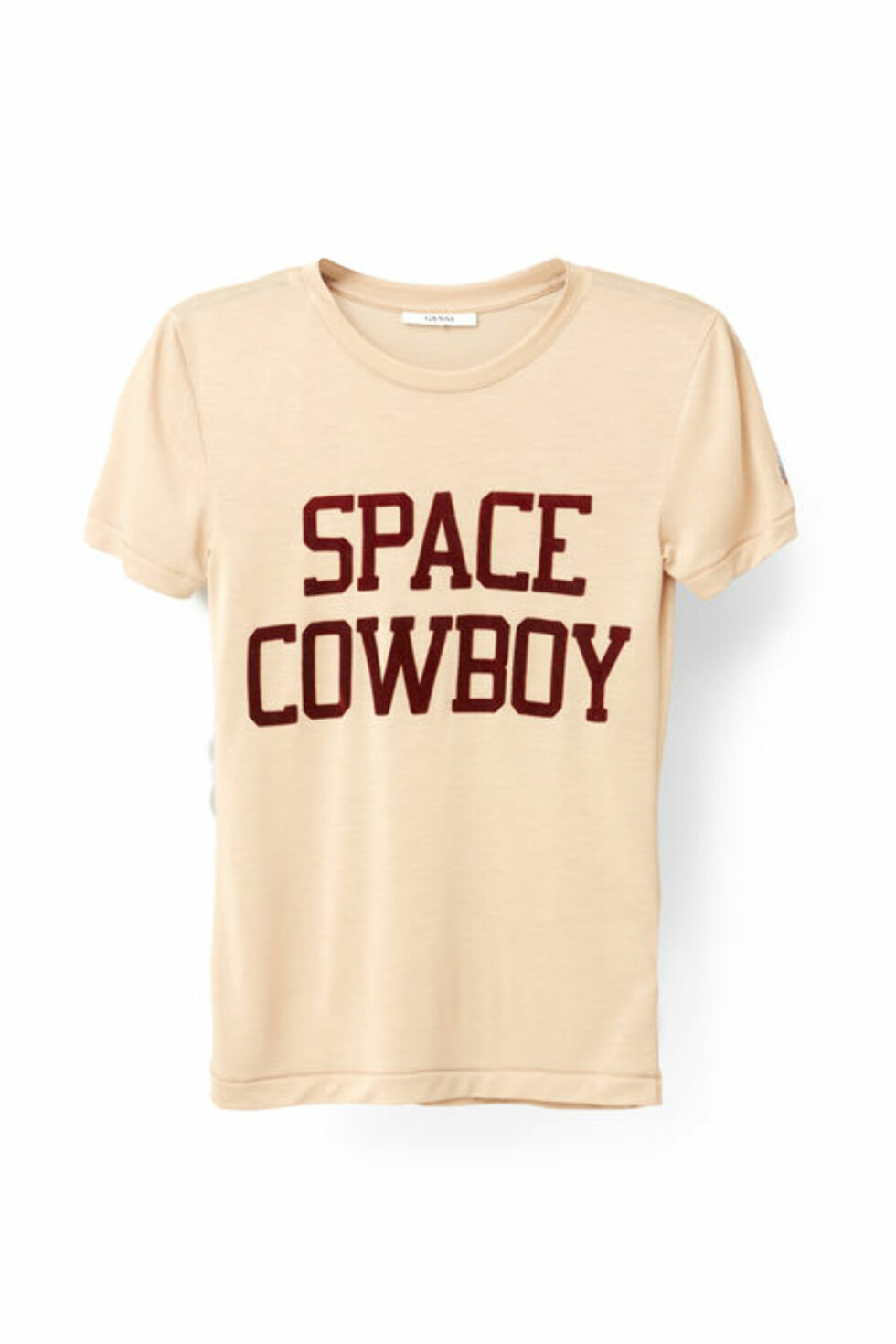 <strong>T-skjorte fra Ganni | kr 799 | http:</strong>//www.ganni.com/shop/tops-and-t-shirts/linfield-lyocell-t-shirt%2C-space-cowboy/T1797.html?dwvar_T1797_color=Cuban%20Sand