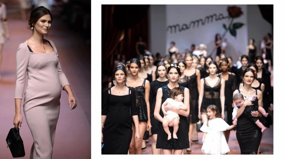 <strong>DOLCE & GABBANA:</strong> Det italienske merket hedret mødre da de viste sin høstkolleksjon for 2016. Her med Bianca Balti (t.v.) som er seks måneder på vei på det tidspunktet. Foto: Scanpix