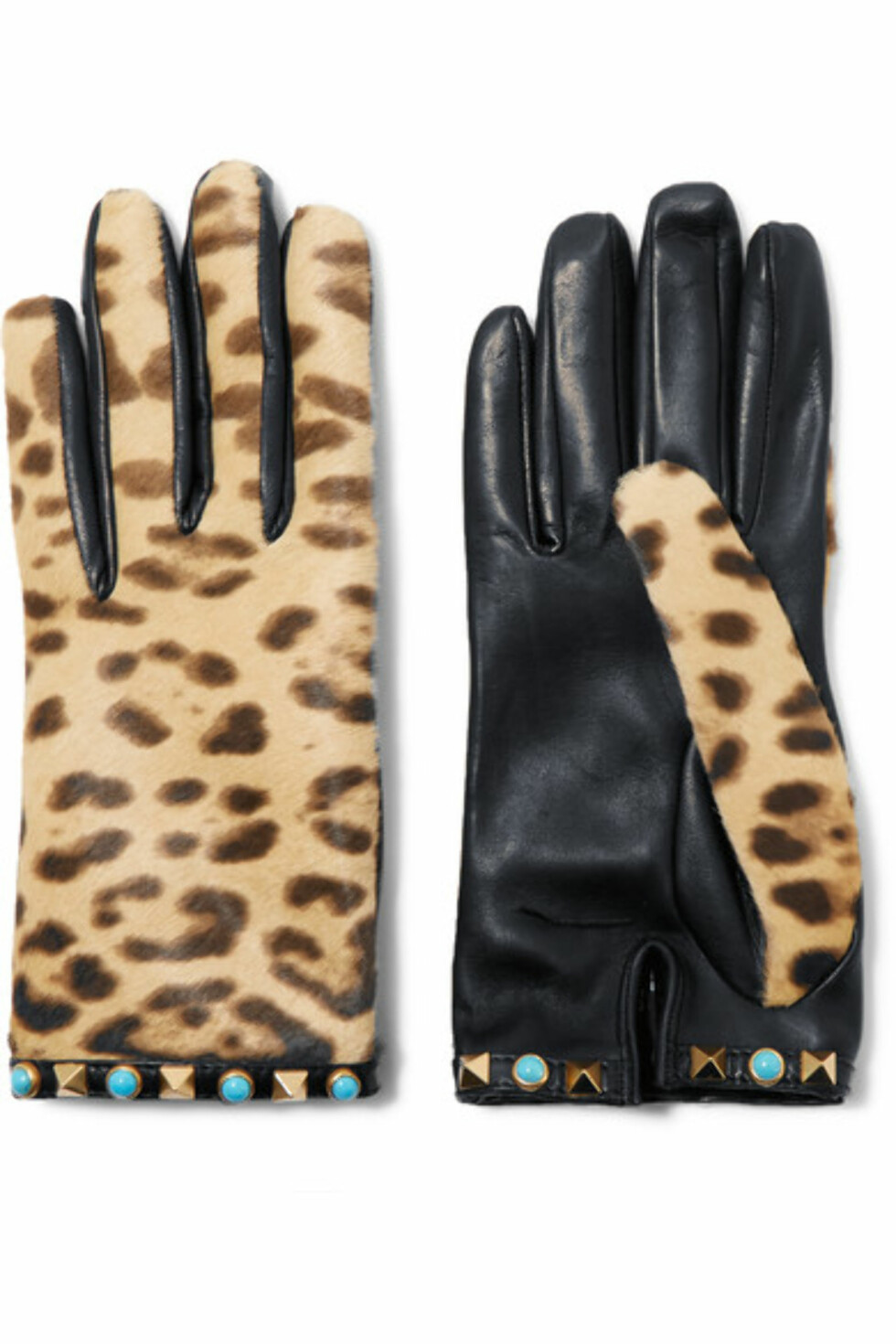Skinnhansker fra Valentino via Net-a-porter.com | kr 3076 | https://www.net-a-porter.com/no/en/product/728596/valentino/embellished-leopard-print-calf-hair-and-leather-gloves