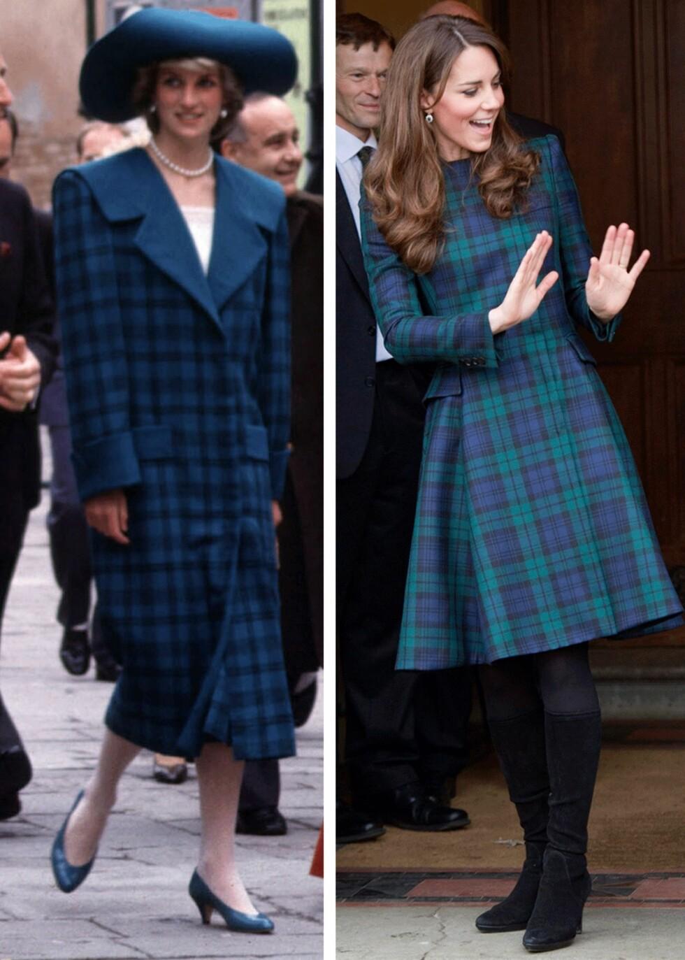 RUTER: Diana på sightseeing i Venezia sammen med prins Charles i 1985, og til høyre er hertuginne Kate som besøker St. Andrew's School i 2012. Foto: Scanpix