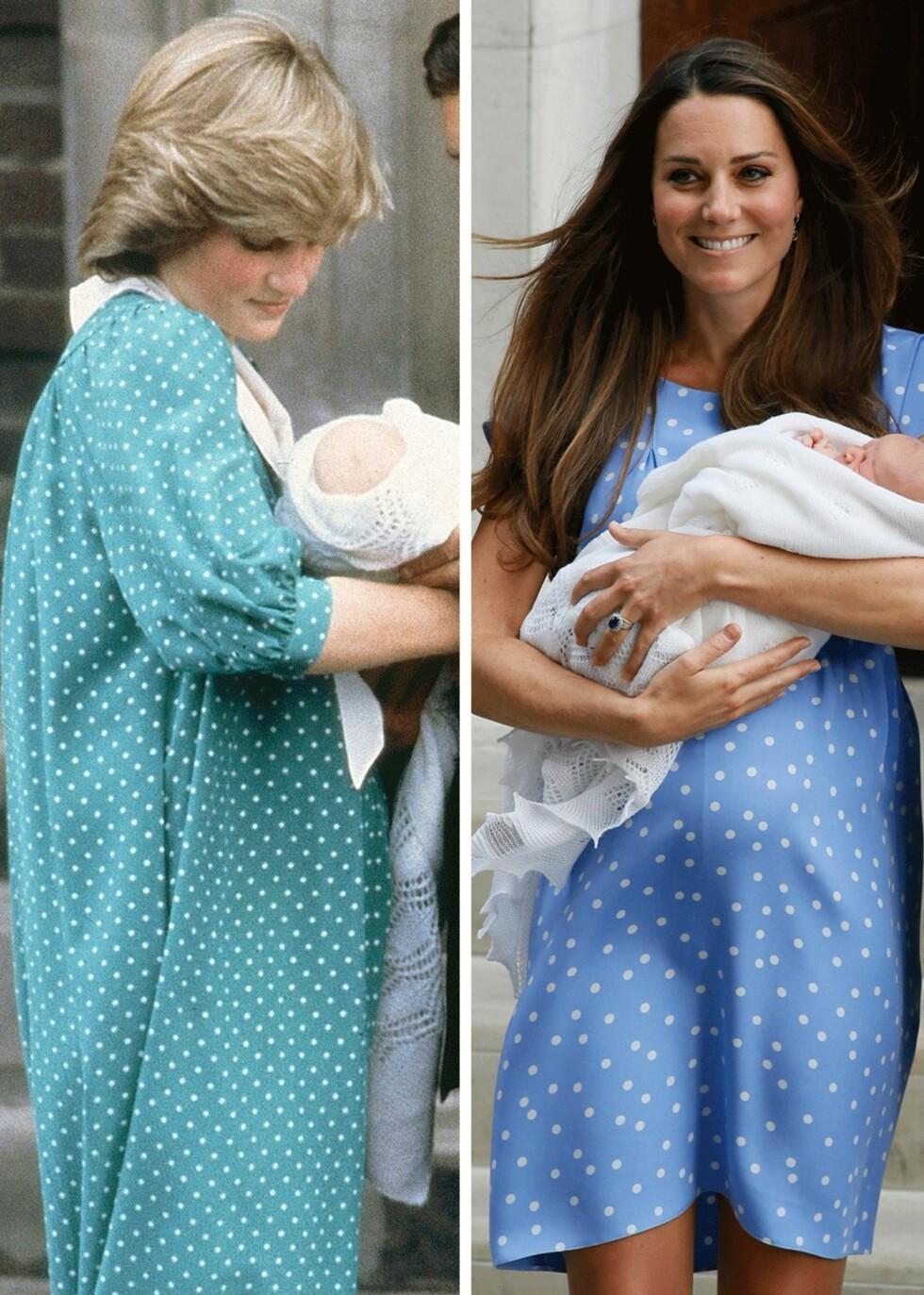 PRIKKER: Diana og Charles viser frem William dagen han ble født i 1982. Til høyre er Kate og William i 2013 - samme dag som deres første sønn George ble født. Foto: Scanpix