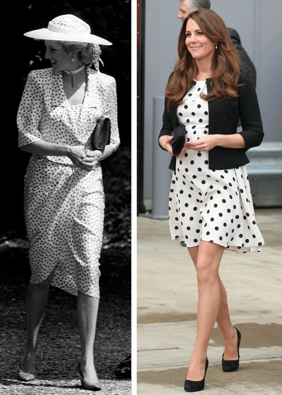GLAD I PRIKKER: Det er ikke første gangen vi har sett prinsesse Diana og hertuginnen i like antrekk. Foto: Scanpix