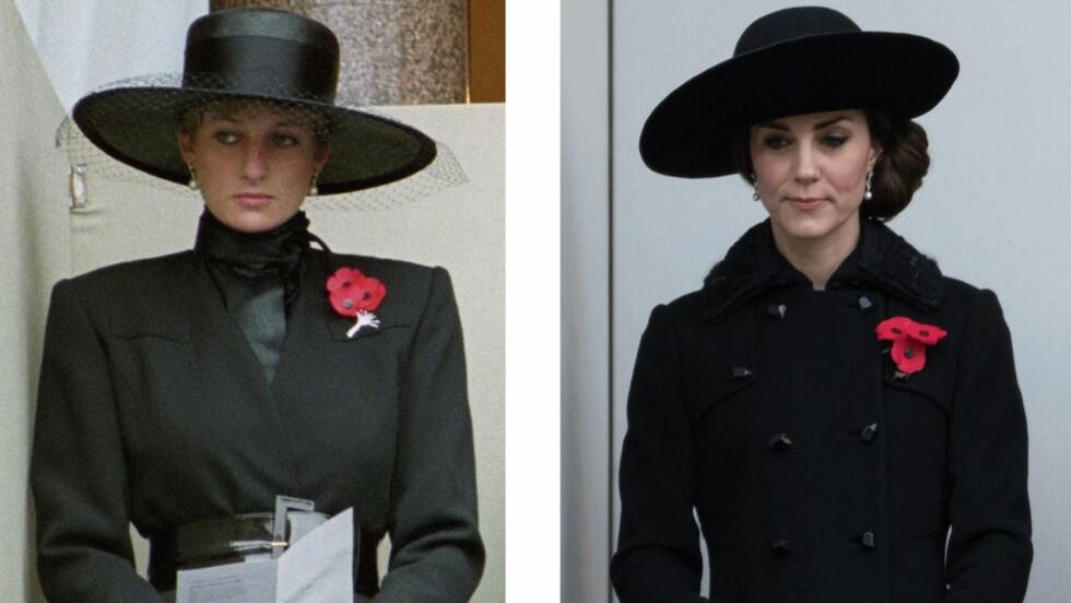 SE SÅ LIKE: Til venstre ser du prinsesse Diana på Remembrance Sunday Service i 1991, og til høyre er hertuginne Kate på det samme i 2016. Hertuginnen har på seg Diane Von Furstenberg. Foto: Scanpix