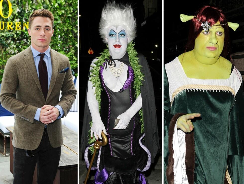 Teen Wolf-skuespiller Colton Haynes som Ursula fra Den Lille Havfruen (i midten) og Fiona fra Shrek (til høyre). Foto: Scanpix