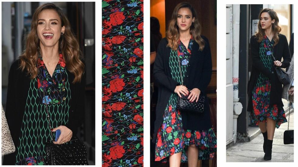 JESSICA ALBA: Skuespilleren viste seg ute i Paris i et antrekk som skal være fra designsamarbeidet til H&M og Kenzo.  Foto: Scanpix