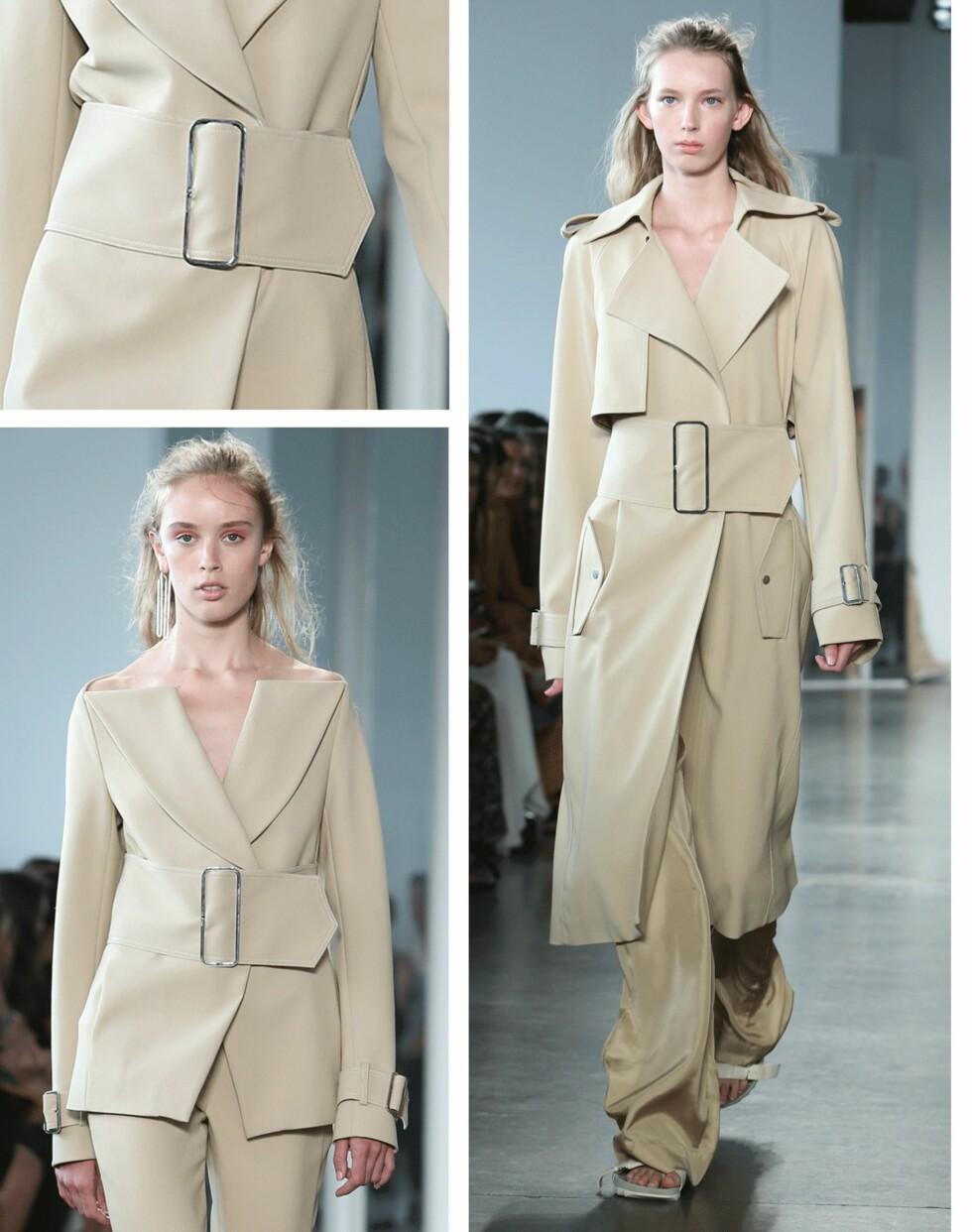 DION LEE: Denne jakken, kjolen og overdelen med bredt belte skal du ikke se bort ifra at blir kopiert i fremtiden. Legg også merke til detaljene øverst på jakken nederst til venstre. Foto: Scanpix