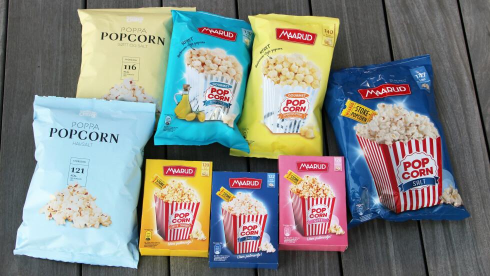 POPCORNNYHETER: KK.no-redaksjonen har testet høstens popcornnyheter. I denne saken får du vite hvilken som vant på smak og næringsinnhold.  Foto: KK