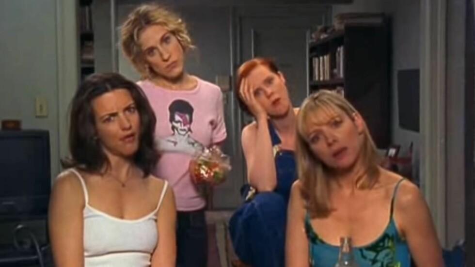 SEX OG SINGELLIV: Disse damene blir vi aldri lei! Her er Carrie, Charlotte, Miranda og Samantha vitne til naboenes hyrdestund. Foto: Skjermdump / YouTube