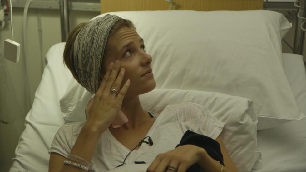 Rikshospitalet, 22. april 2015. Transplantasjonen er i gang. Margrethe er spent og redd.  Foto: Privat