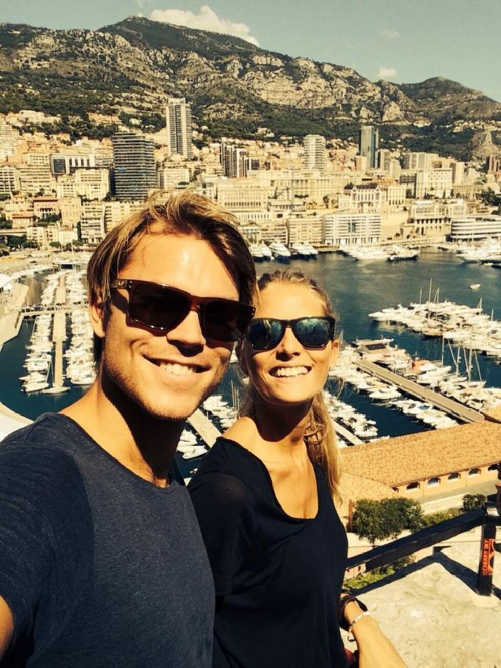 2014: Andreas og Margrethe har tid sammen i Monaco.  Foto: Privat