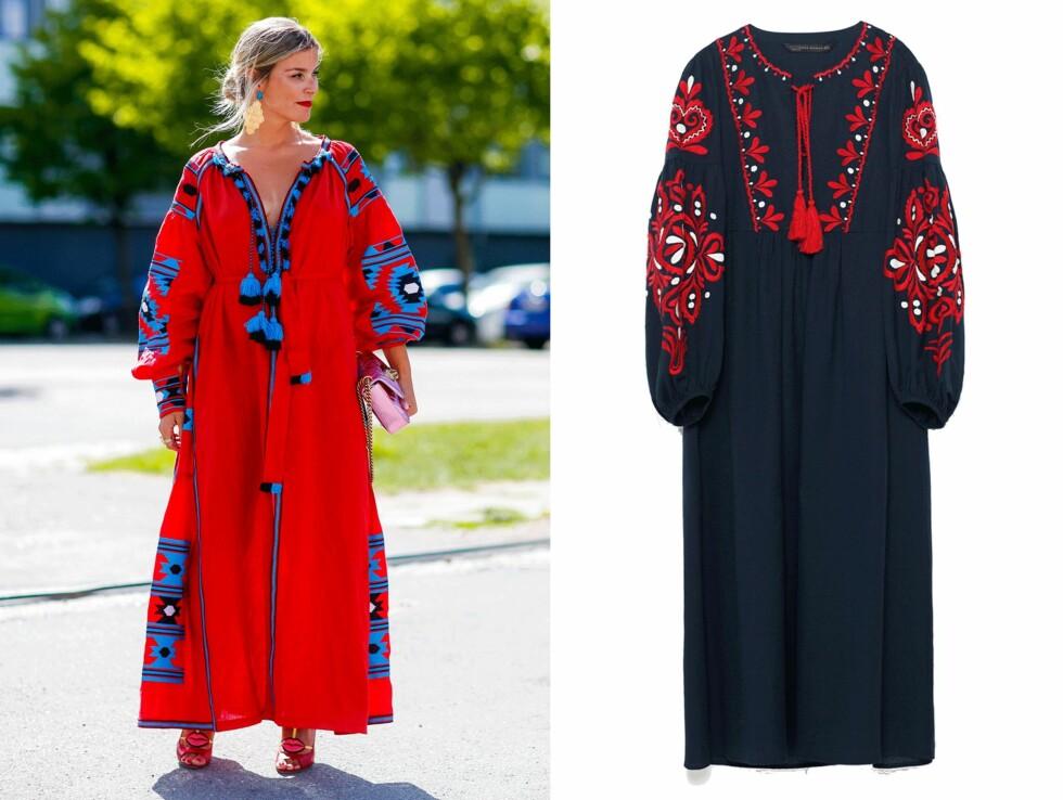 VITA KIN VS ZARA: Kjolen til venstre er fra Vita Kin og har en prislapp på rundt 11.000 kroner. Kjolen til høyre er fra Zara og koster kroner 699. Foto: Scanpix, Produsenten