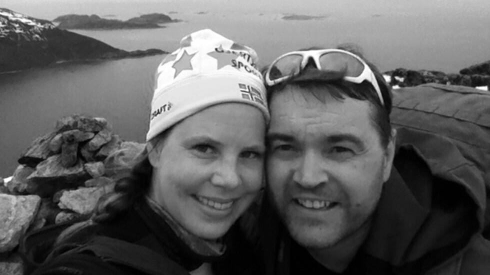 FIKK HJERTEFLIMMER: Betina og Bjørn ler litt av at Bjørn fikk hjerteflimmer den siste dagen av singeltreffet, noe som gjorde at de måtte tilbringe to ekstra dager på Jotunheimen. Dette bildet er tatt fra en fjelltur på Brosmetind på Kvaløya i Tromsø. Foto: Privat