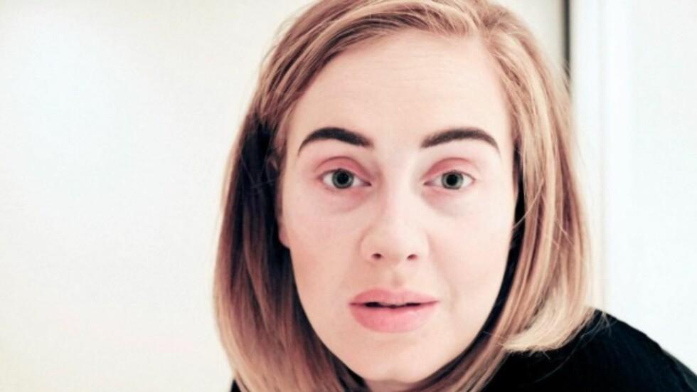 USMINKET: Adele er blant annet kjent for sin tykke eyeliner, men denne uka la hun ut bildet av seg selv helt usminket.  Foto: Skjermdump: Instagram