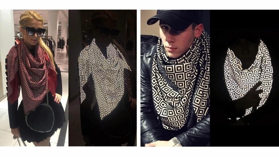 SKAFFET SEG SKJERF: Paris Hilton og Nick Jonas har selvfølgelig skaffet seg skjerfet som skjuler dem fra paparazziene. Foto: Scanpix