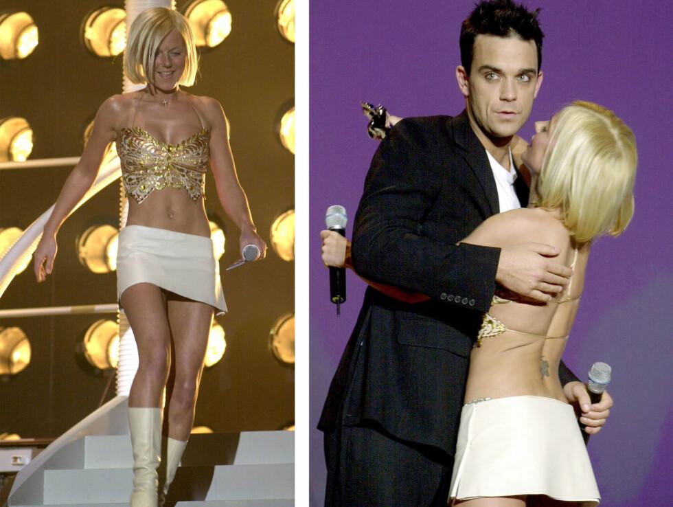 I 2001: Her er Geri avbildet under The Brit Awards i 2001 - da hun var på sitt tynneste. Her fikk hun æren av å dele ut pris til popkollega og venn Robbie Williams, som senere rådet henne til å legge seg inn på rehab som følge av bulimien.  Foto: Scanpix