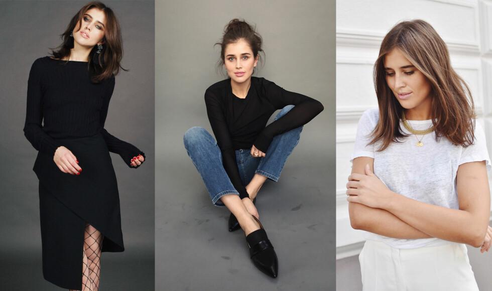 BASISGARDEROBEN: Kasjmirgenser, jeans og t-skjorten er alle tre garderobeklassikere jeg bruker på jobb, til fest eller på reiser.  Foto: Jakob Landvik