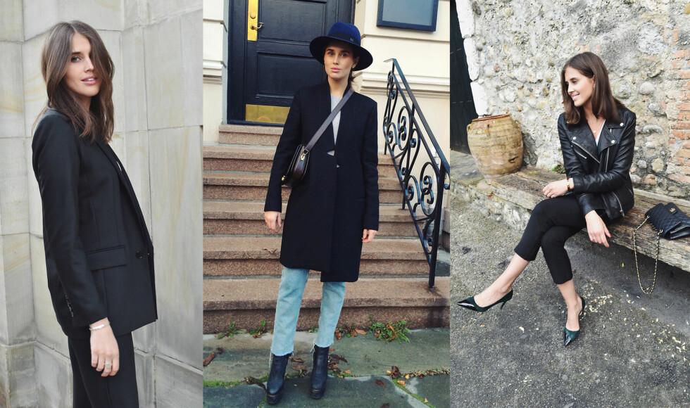 BASISGARDEROBEN: Enten jeg bruker en sort blazer, kåpe eller skinnjakke føler jeg meg komfortabel og fin.  Foto: www.darjabarannik.com