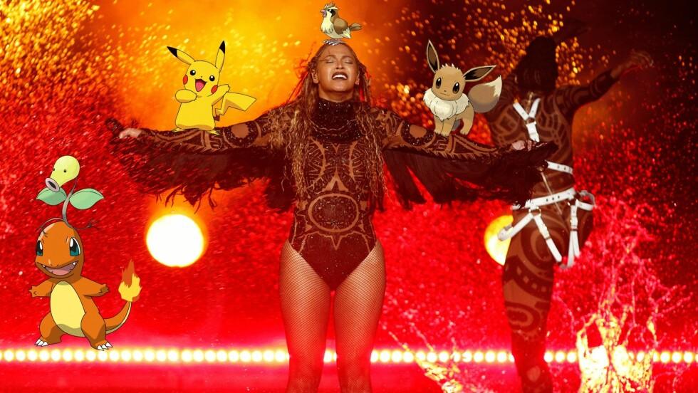 BEYONCE VS POKEMON: Det var ikke bare Beyonce som var interessant under den storslåtte konserten til superstjernen. Lengre ned i saken finner du nemlig en video av en jente som er på Pokemon-jakt mens sangstjernen står noen meter unna. Foto: Scanpix