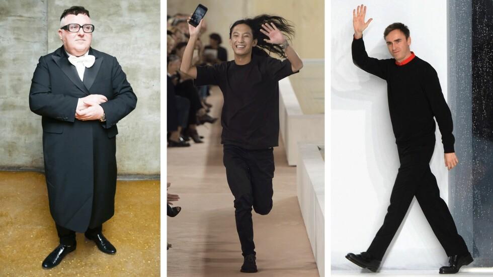 TRE STORE: Elber Albaz (t.v.), Alexander Wang (i midten) og Raf Simons (t.h.) forlot Lanvin, Balenciaga og Dior for under ett år siden. Foto: Scanpix