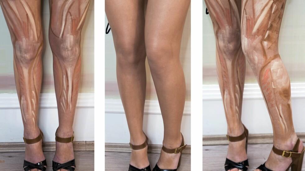 RESULTATET: I midten ser du hvordan beina ble etter at sminken hadde blitt duset ut. Foto: Scanpix